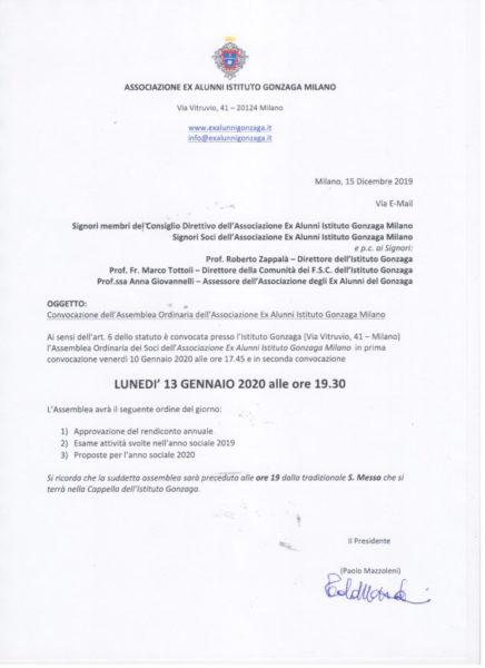 Convocazione dell'assemblea ordinaria 2020