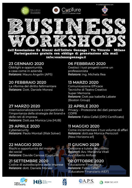 Il programma dei Business Workshops 2020