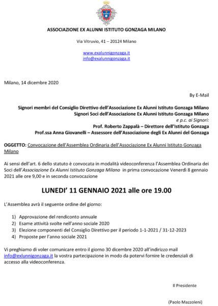Convocazione dell'Assemblea Ordinaria dell'Associazione Ex Alunni Istituto Gonzaga Milano